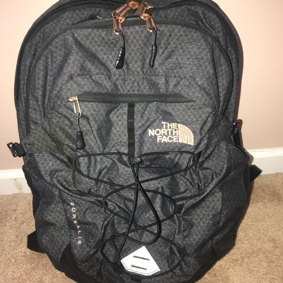 164e6fe27 Grey and rose gold North Face Borealis backpack